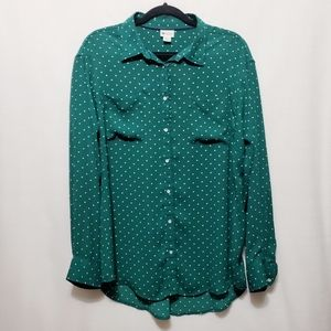 Polka Dot Blouse* Green / White *Sz XL*H
